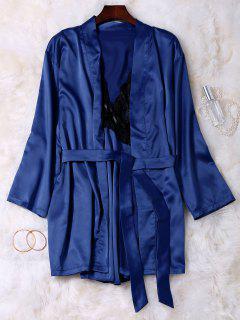 Lace Panel Satin Babydoll With Kimono - Blue Xl