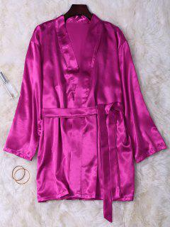Lace Panel-Satin Babydoll Mit Kimono - Magenta Xl