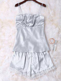Faux Silk Cami Top And Shorts Sleepwear - Silver M