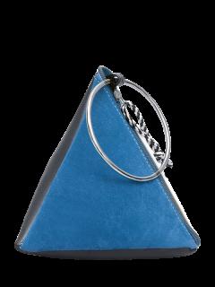 Suede Panel Triangle Shaped Handbag - Blue
