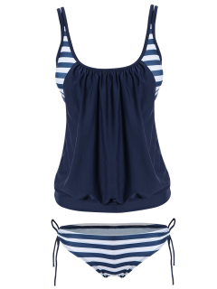 Striped Blouson Tankini Swimsuit - Navy Blue 2xl