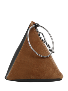 Suede Panel Triangle Shaped Handbag - Brown