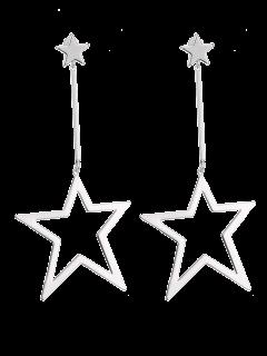 Boucles D'oreilles à Pentagramme Agrémentée  - Argent