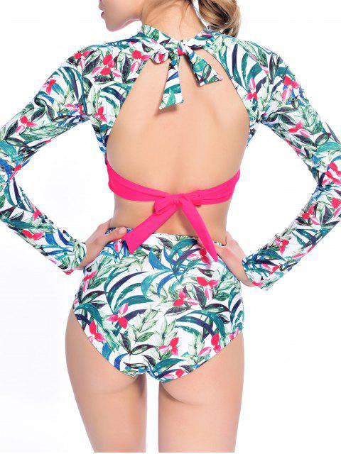 affordable Leaf Print High Waisted Cropped Rashguard Bikini - ROSE RED S Mobile