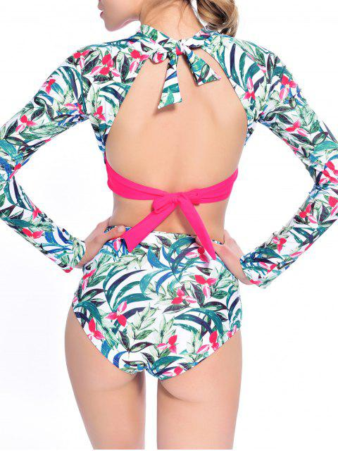 womens Leaf Print High Waisted Cropped Rashguard Bikini - ROSE RED L Mobile