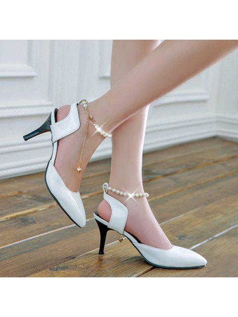 chic Slingback Faux Pearls Pumps - WHITE 37 Mobile