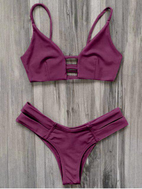 Traje de baño Bikini vendaje enjaulado - Burdeos S Mobile