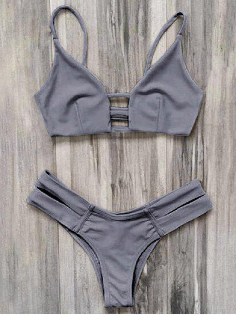 trendy Caged Bandage Bikini Swimwear - GRAY L Mobile
