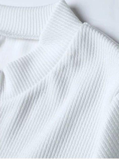 Nervuré Lace Up Top Crop - Blanc M Mobile