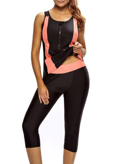 lady Tankini Top and Swim Pants Diving Wetsuit - BLACK L Mobile