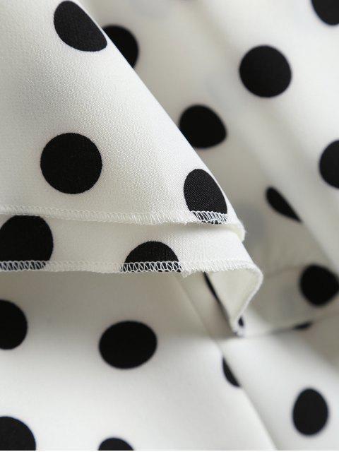 unique Polka Dot One Shoulder Ruffle Top - WHITE M Mobile