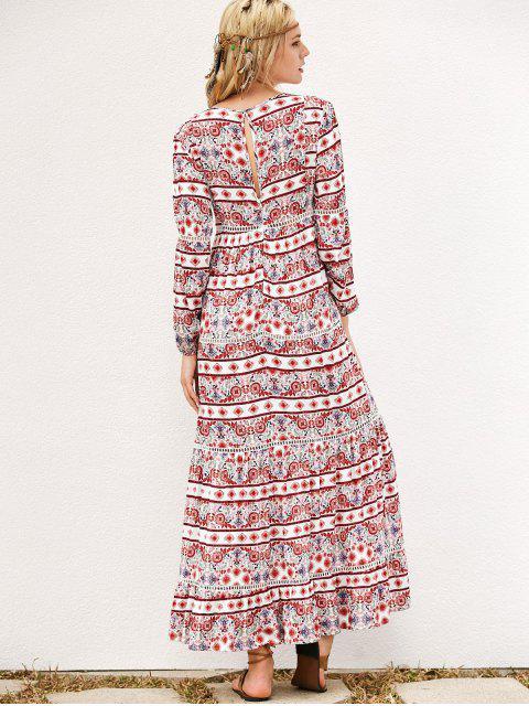womens Long Sleeve Tribal Print Maxi Dress - RED L Mobile