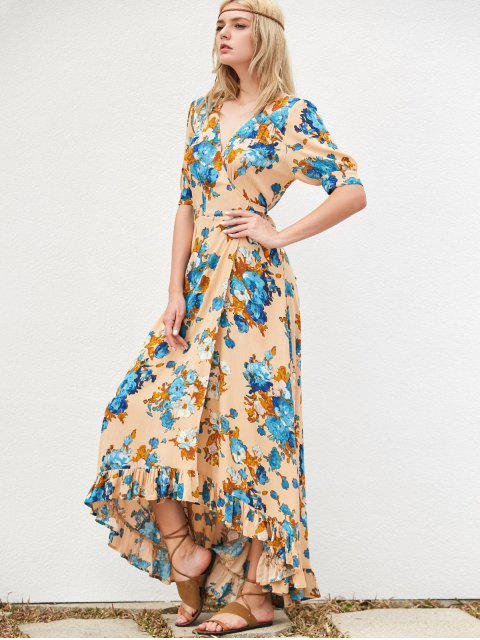 ladies Floral Asymmetrical Maxi Dress - KHAKI L Mobile