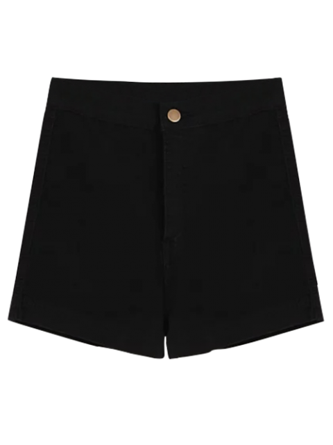 shop High Waisted Denim Shorts - BLACK L Mobile