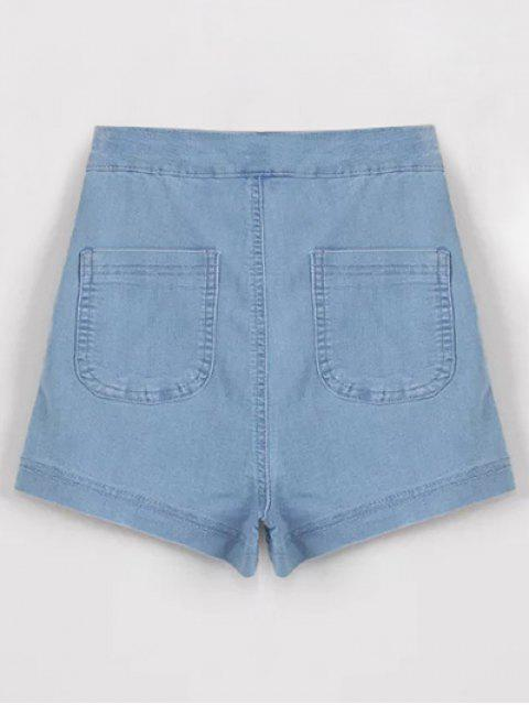 fashion High Waisted Denim Shorts - LIGHT BLUE M Mobile