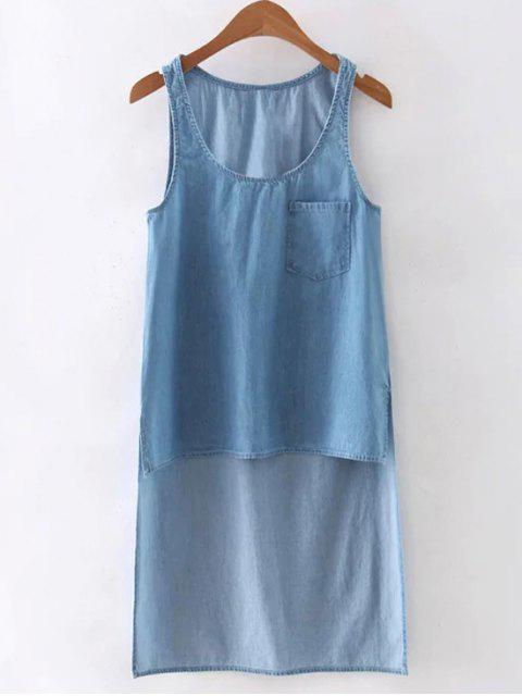 latest High Low Pocket Denim Vest - LIGHT BLUE L Mobile