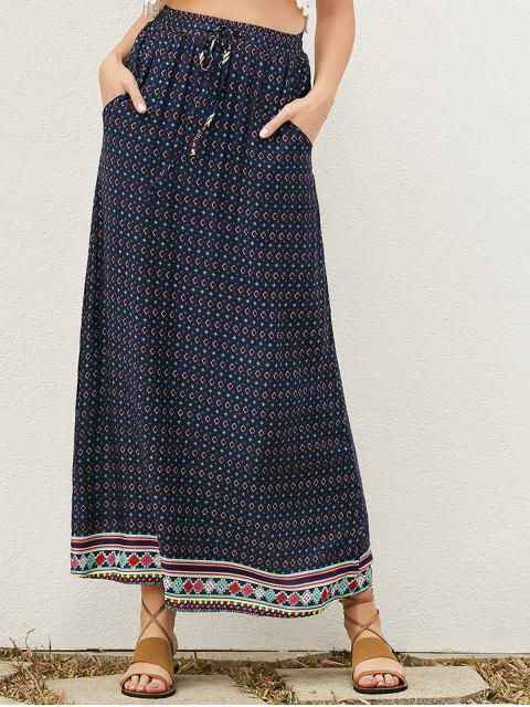 chic Drawstring Geometric A-Line Skirt - PURPLISH BLUE S Mobile