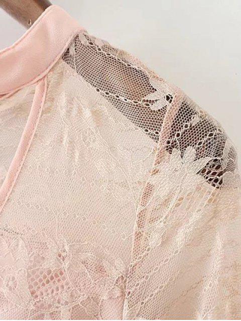 combinaison ras de cou transparente avec ceinture nouée en dentelle - Blanc S Mobile