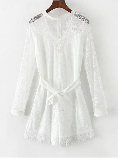 shops Choker Lace Sheer Romper With Tie Belt - WHITE M Mobile