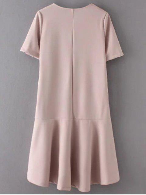 sale Ruffle Hem High Low Dress - PALE PINKISH GREY M Mobile
