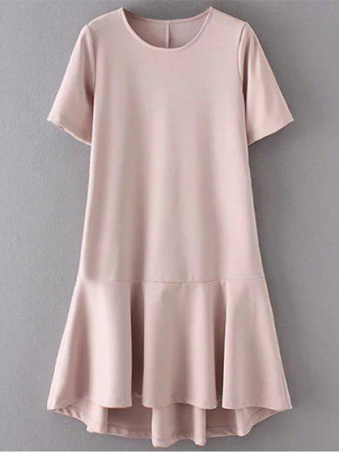 affordable Ruffle Hem High Low Dress - PALE PINKISH GREY S Mobile