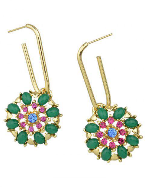 shop Rhinestone Flower Shape Drop Earrings - GREEN  Mobile