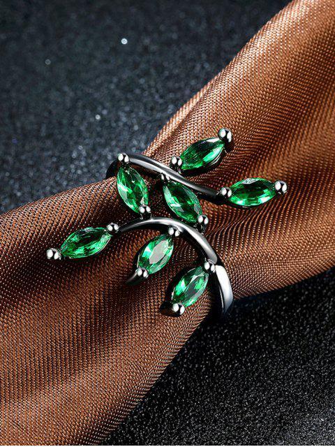 fancy Faux Gemstone Leaf Ring -   Mobile