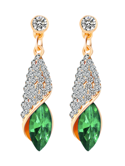 chic Rhinestoned Faux Crystal Oval Drop Earrings -   Mobile