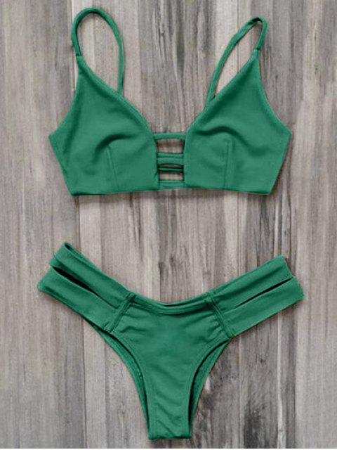 women's Caged Bandage Bikini Swimwear - GREEN L Mobile