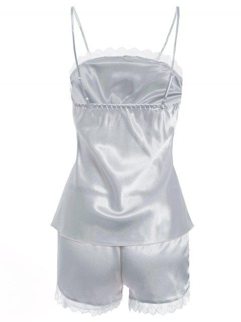 buy Faux Silk Cami Top and Shorts Sleepwear - SILVER M Mobile