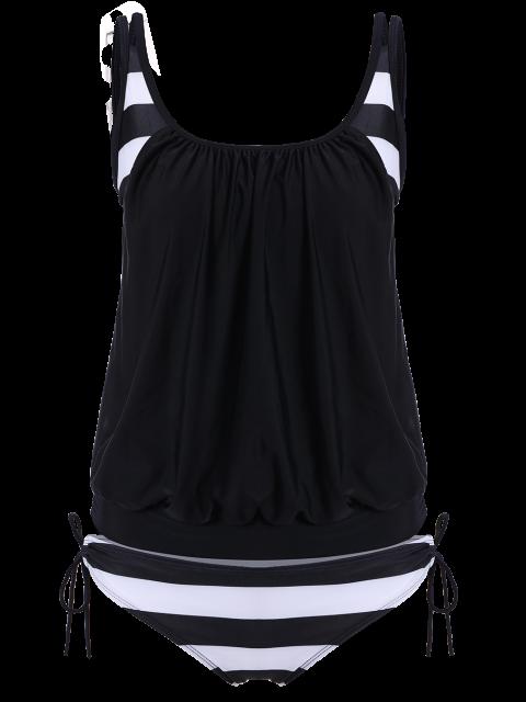 women's Striped Blouson Tankini Swimsuit - BLACK 2XL Mobile