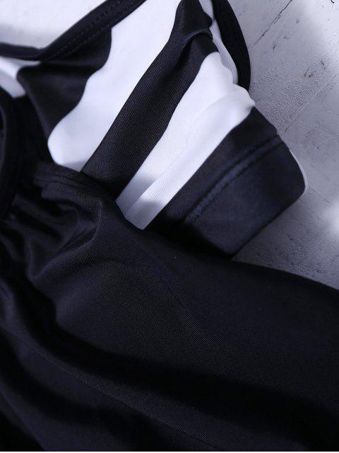 women Striped Blouson Tankini Swimsuit - BLACK XL Mobile
