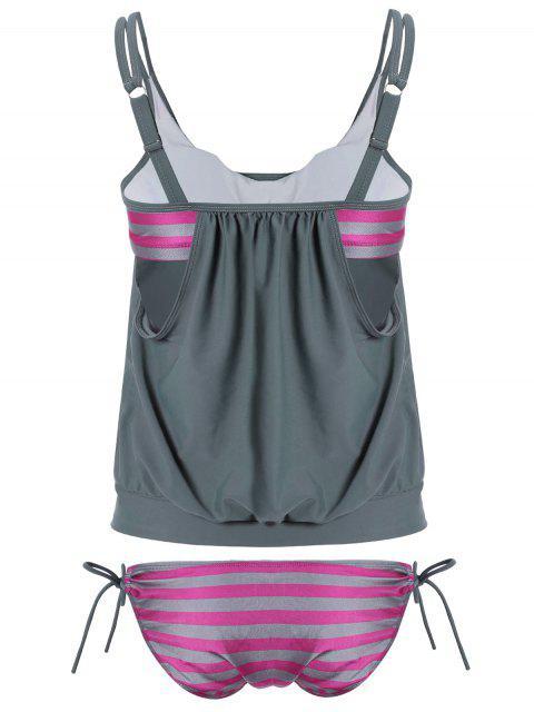 new Striped Blouson Tankini Swimsuit - GRAY 2XL Mobile