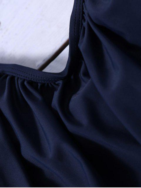 shops Striped Blouson Tankini Swimsuit - NAVY BLUE 2XL Mobile