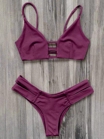 Caged Bandage Bikini Swimwear - Burgundy S