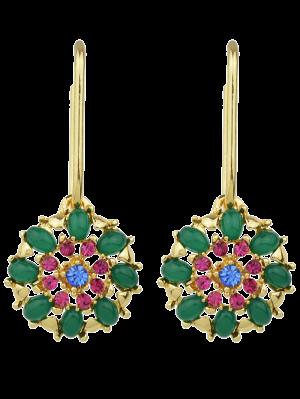 Pendientes Forma De Gota De La Flor Del Rhinestone - Verde