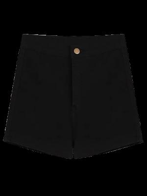 High Waisted Denim Shorts - Black M