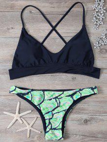 Cami Cross Back Printed Bikini Set - M