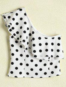 Polka Dot One Shoulder Ruffle Top - White L
