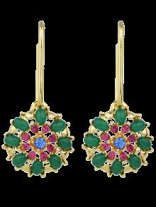 Rhinestone Flower Shape Drop Earrings - Green