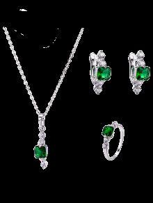 Pendientes Collar De Esmeraldas Artificiales Y Anillo - Verde