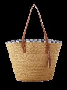 Tassels Weaving Striped Shoulder Bag - Light Brown