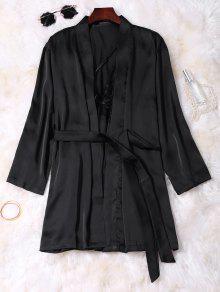 Lace Panel Satin Babydoll With Kimono - Black M