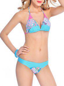 Back Tie Halter Paisley Bikini - Lake Blue M