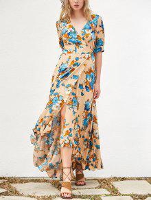 Floral Asymmetrical Maxi Dress - Khaki L