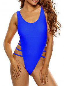 Side Strap Thong Swimsuit - Sapphire Blue S