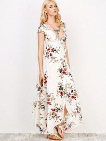 Floral Print Short Sleeve Maxi Wrap Dress WHITE: Maxi Dresses XL ...
