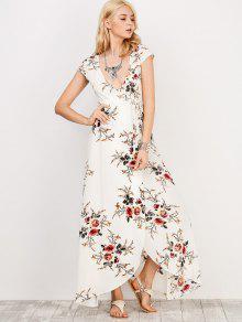 Floral Print Short Sleeve Maxi Wrap Dress WHITE: Maxi Dresses M ...