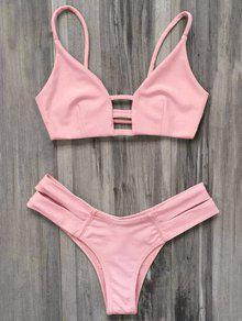 Bikini Traje Baño Vendaje Enjaulado  - Rosado Claro L