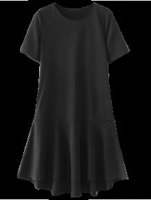 فستان كشكشالحاشية عالية انخفاض - أسود M
